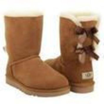 PEAP UGG bow leather boots boots in tube Grey
