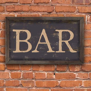 Wooden handmade bar sign framed in wood.  Approx. 12x19x2 inches.