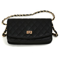 LE3NO Womens Structured Quilted Faux Leather Mini Crossbody Bag