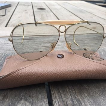 Ray Ban Original Vintage Shooter Sunglasses made in USA Bausch & Lomb Green Lens