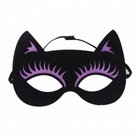 Black Contrast Purple Cat Cute Halloween Mask - Choies.com