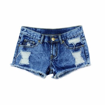 New Women Denim Shorts Solid Blue Short Jeans Hole Style Summer Shorts Hot Selling