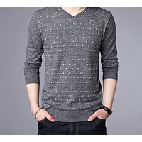 Cashmere Pullover Men Winter Warm Wool Sweater Men Clothing Casual V-Neck Men Sweaters Knitwear
