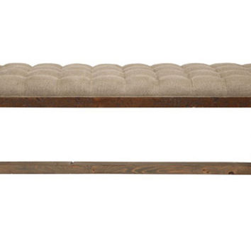 "X-Base 50"" Tufted Bench, Oatmeal, Bedroom Bench"