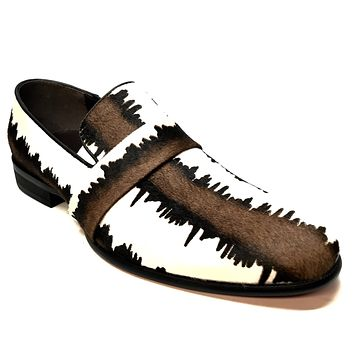 Fiesso Pony Hair Two Tone Derby Loafers