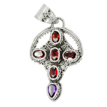 925 Sterling Silver Garnet Cross Pendant,Gemstone Silver Cross Pendant,Purple Amethyst Cross Pendant,Birthstone pendant,SilverCross Necklace