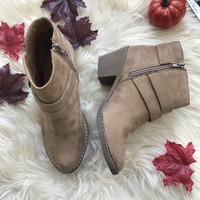 ALAYNA SUEDE BUCKLE BOOTIE-TAUPE