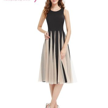 New Fashion Cocktail Party Dress Ever Pretty AS05403 2017 Simple Black Round Neck Tea Length Dress Cocktail Dresses