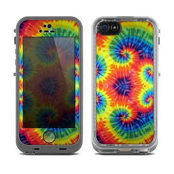 The Bright Colorful Tie Dyed Skin for the Apple iPhone 5c LifeProof frē Case
