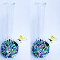 Blue + Green Mini Globe Bottom Water Pipe