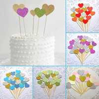 40PCS Handmade Lovely Pink Heart Cupcake Toppers Baby Shower Party Birthday