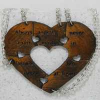 Heart Puzzle necklaces set of 5 Always Together saying Best Friend Jewelry Orange and black