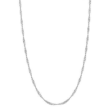 925 Sterling Silver 2mm Singapore Rope Twisted Chain