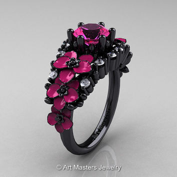 Nature Classic 14K Black Gold 1.0 Ct Pink Sapphire Diamond Pink Orchid Engagement Ring R604-14KBGDPPS
