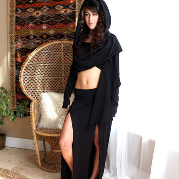 Crop Hooded Wrap Cardigan - Elven Jacket - Burning Man - ZhenNymph