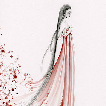 OOAK Fashion Illustration Pencil Drawing and Painting with Wine Staining Burgundy Wine Red Dress Beautiful Figure Drawing