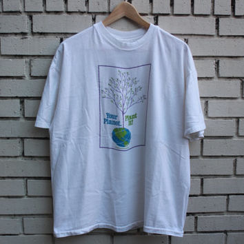 """Vintage """"Your Planet, Plant It"""" Shirt Go Green 100% cotton made in U.S.A. reduce reuse recycle environmentalist grim reaper pollution"""