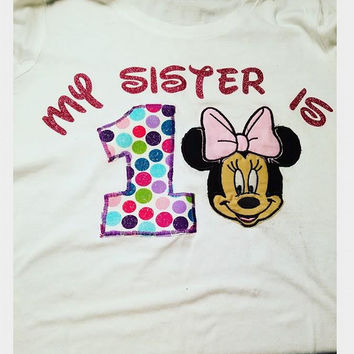 BIRTHDAY MINNIE MOUSE SISTER SHIRTS GIRLS CLOTHING