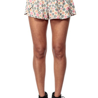 Cream Daisies Overlapped Woven Shorts