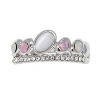 Dear Deer White Gold Plated Assorted Color CZ Moonstone Band Ring