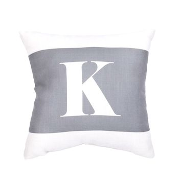 Grey Initial Pillow