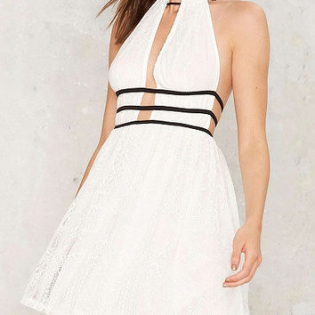 White Contrast Lace Halter Plunge Open Back Dress