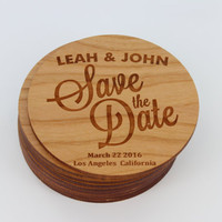 Save the Date Magnets - Unique Custom Engraved Wood Magnets - Coasters - Simple & Classy - Wedding Reminder - Wedding Gift Ideas by Froolu