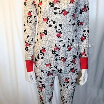 Licensed cool DISNEY Mickey & Minnie Mouse 2 pc Pajamas PJS Set with Plush Sleep Mask JR M NEW