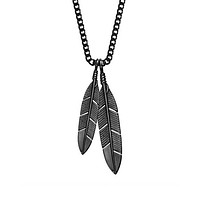 Feathers Necklace - Black