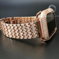 42mm Apple Watch Rose Gold Bezel Case Cover Womens Series 1 2 3 Iced Out Pave Lab Diamonds Protection Rhinestone Baguette Band Iwatch