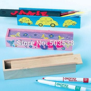 8PCS/LOT.Paint unfinished wood pencil box,Drawing toys,Early educational toy,Art material,Kids toys.Art fun,Creative stationery