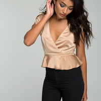 Beyda Crop Top in Satin Gold by Motel