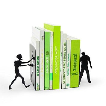 MUSTARD Bookends metal for shelves I Storage for Books, DVDs, CDs I Funny Gift idea for Men & Women I Stationery & Office Supply - Zombie