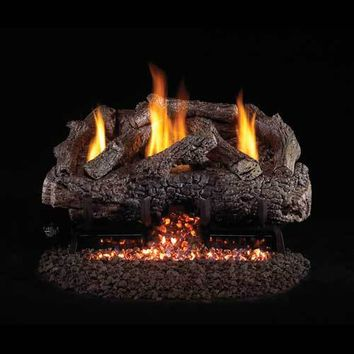 "Peterson Real Fyre Vent Free 24"" Charred Frontier Oak Gas Logs"