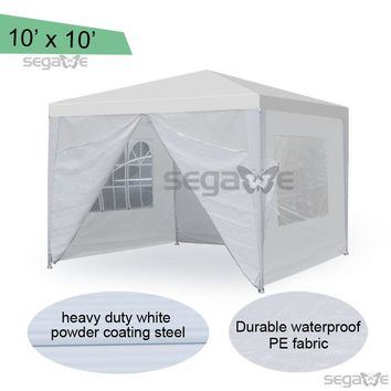 10' x 10' White outdoor Wedding Party Tent patio Gazebo Canopy with Side Walls