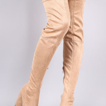 Peep Toe Round Heeled Over-The-Knee Suede Boots