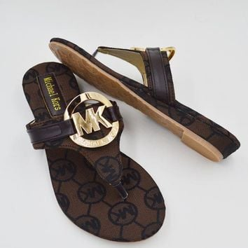 MICHAEL KORS MK  New fashion Women more letter flip-flops sandals slippers flat shoes Coffee