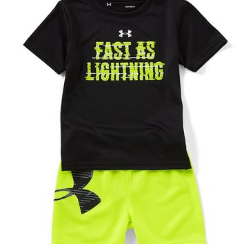 Under Armour Baby Boys 12-24 Months Short-Sleeve Fast As Lightning Tee & Solid Shorts Set | Dillards