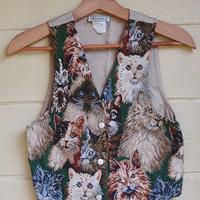 Vintage 1980s Cat Vest Womens Tapestry Cat Vest