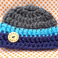 Crochet Chunky Baby Hat, Blue and Grey Boy Beanie with wood Button, Striped Newborn Photo Prop Cap, Baby Shower Gift Hat