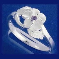STERLING SILVER 925 HAWAIIAN PLUMERIA FLOWER MAILE LEAF PURPLE CZ RING SIZE 2-10