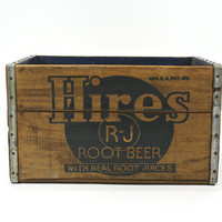 Vintage Wood Crate / Vintage Hires Root Beer Wood Crate / Pop Crate /  Industrial