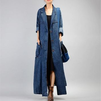 Yesno JQ3 Women Casual Loose Maxi Button-Down Denim Trench Coat Jacket 100% Cotton Plus Size Fringed Cut Large Hem /Big Pockets