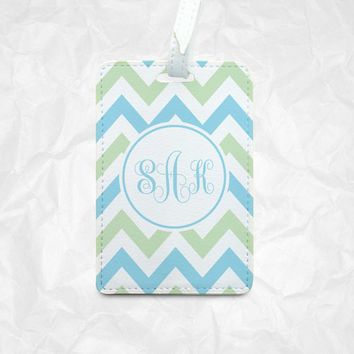 Chevron Blue Green & White stripes Tag for Luggage, Bag, Gift - Personalized with your name or initial, Custom colors design