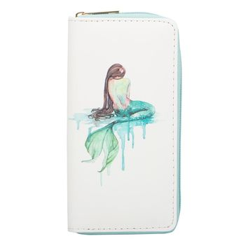 Sansarya New Fashion 2018 Green Fables Mermaid Fashion Long Women Wallet Teenage Girls Card Holder Zipper Money Bag Phone Bag