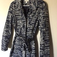 EUC Coldwater Creek Blue Pattern Women's Light Jacket Size Medium