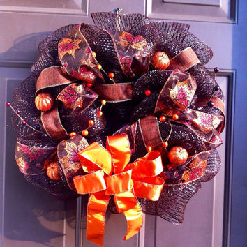 Deco Mesh Wreath Fall for Front Door with Pumpkins Leaves Burlap Ribbon