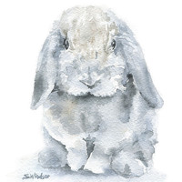 Mini Lop Bunny Rabbit - Watercolor Painting - Giclee Print - 11 x 14 - Nursery Art