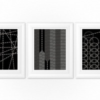 Dining Room Prints / Living Room Art Decor Set of 3 - Black & White Geometric Pattern 8x10 Dining Room / Living Room Wall Decor Choose Color