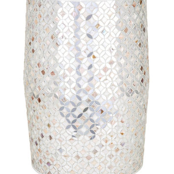 Quatrefoil Glass Mosiac Tile Garden Stool / Side Table